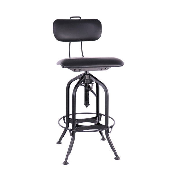 Design Lab MN LS-9199-BLKVIN Toledo Matte Black Adjustable Bar Chair