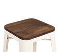 Design Lab MN LS-9100-CREW Dreux Cream Dark Wood Barstool Set of 4