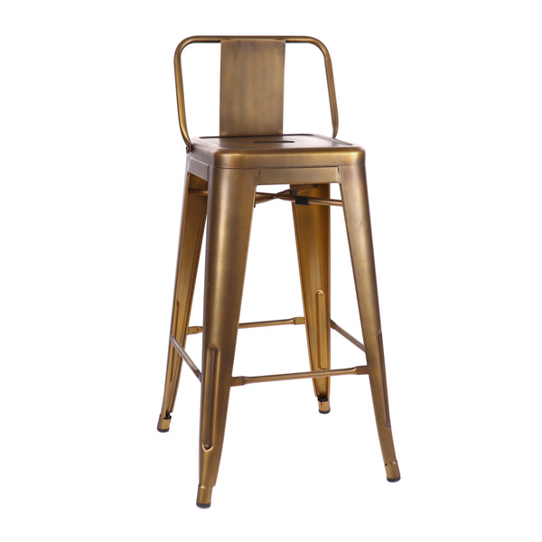 Design Lab MN LS-9102-VBRALB Dreux Vintage Brass Low Back Counter Stool Set of 4