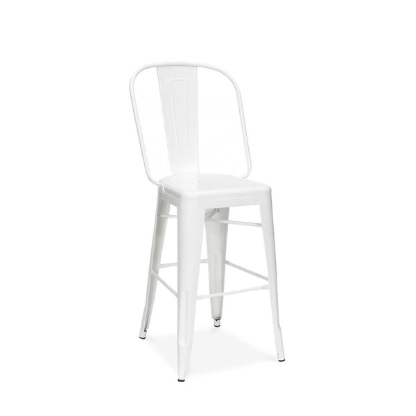 Design Lab MN LS-9111-WHT Dreux White High Back Counter Chair Set of 4