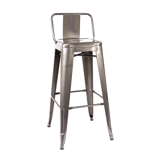 Design Lab MN LS-9100-GUNLB Dreux Gunmetal Low Back Barstool Set of 4