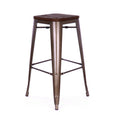 Design Lab MN LS-9100-RMTW Dreux Rustic/Dark Wood Barstool Set of 4