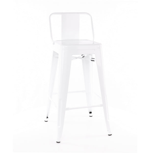 Design Lab MN LS-9102-WHTLB Dreux White Low Back Counter Stool Set of 4
