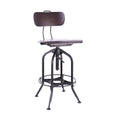Design Lab MN LS-9199-WALBLK Toledo Walnut Matte Black Adjustable Bar Chair