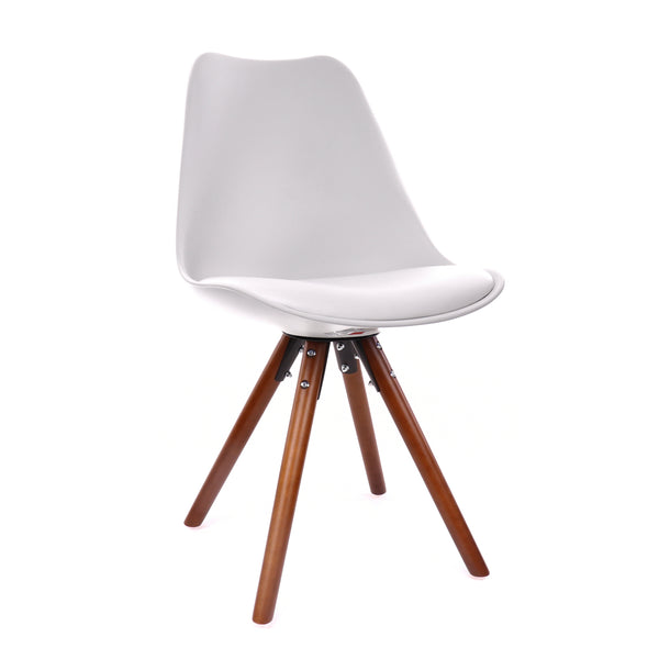 Design Lab MN LS-1000-WHTWAL Viborg White/Walnut Dining Chair Set of 2