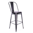 Design Lab MN LS-9101-MTBLK Dreux Matte Black High Back Bar Chair Set of 4