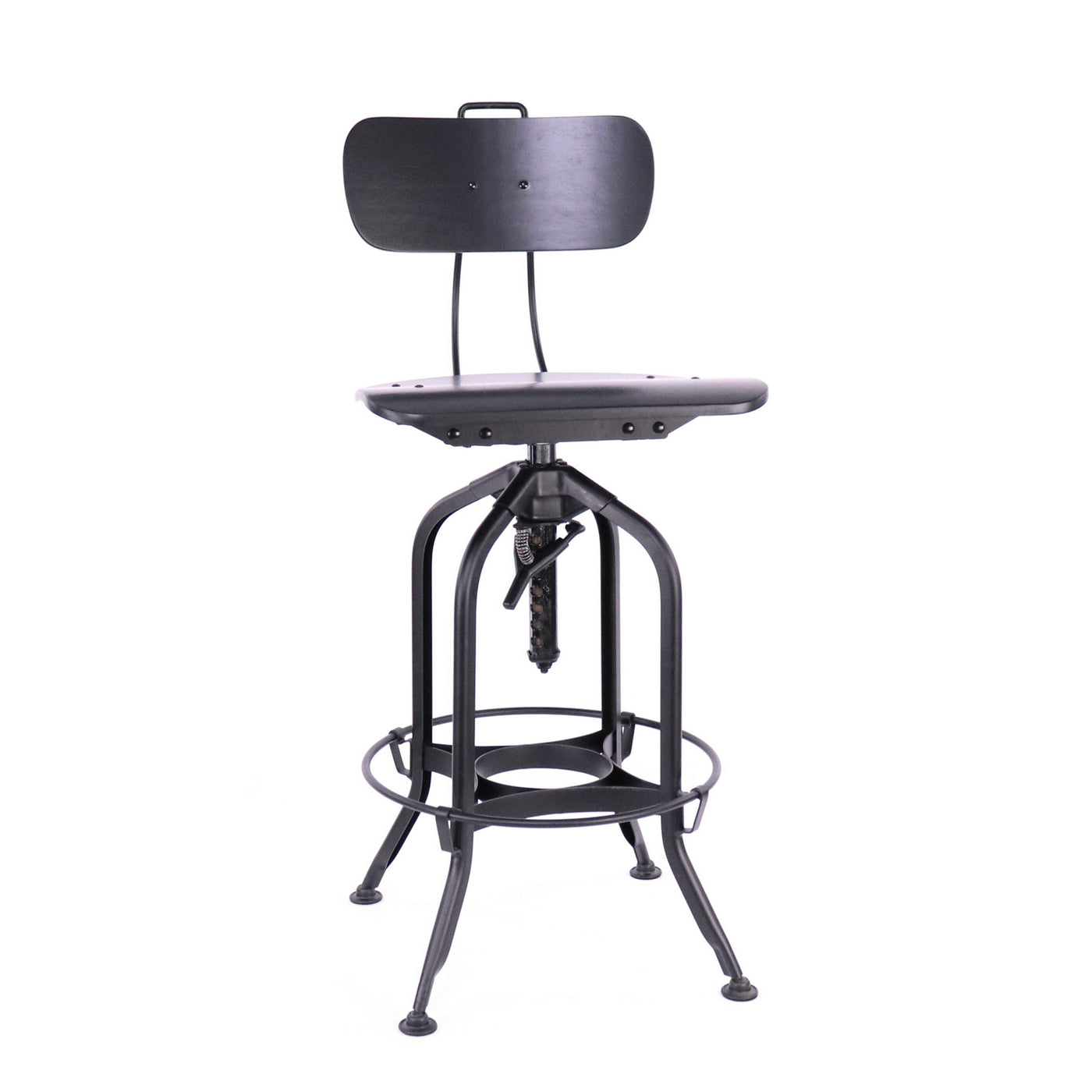 Design Lab MN LS-9199-BLKBLK Toledo Black Vinyl Matte Black Adjustable Bar Chair