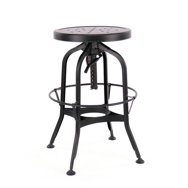Design Lab MN LS-9200-BLK Toledo Matte Black Adjustable Barstool