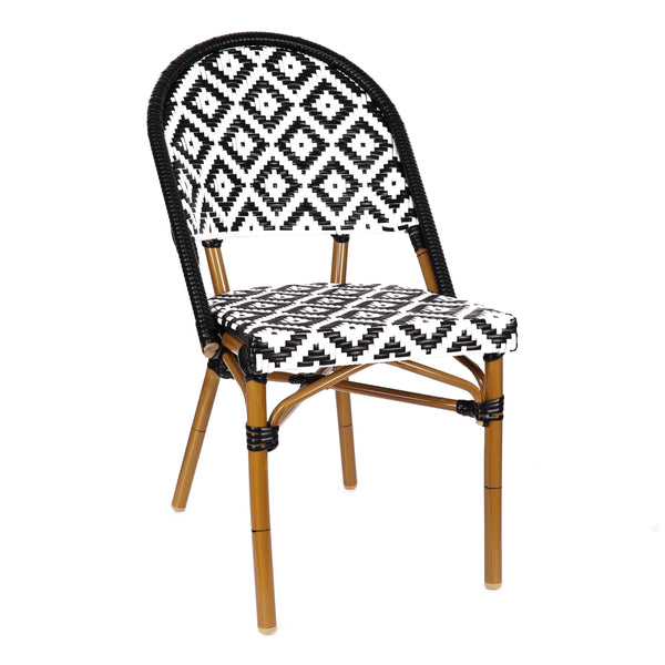 Design Lab MN LS-3002-BLKWHT Aluminum Bamboo Black Patio Chair