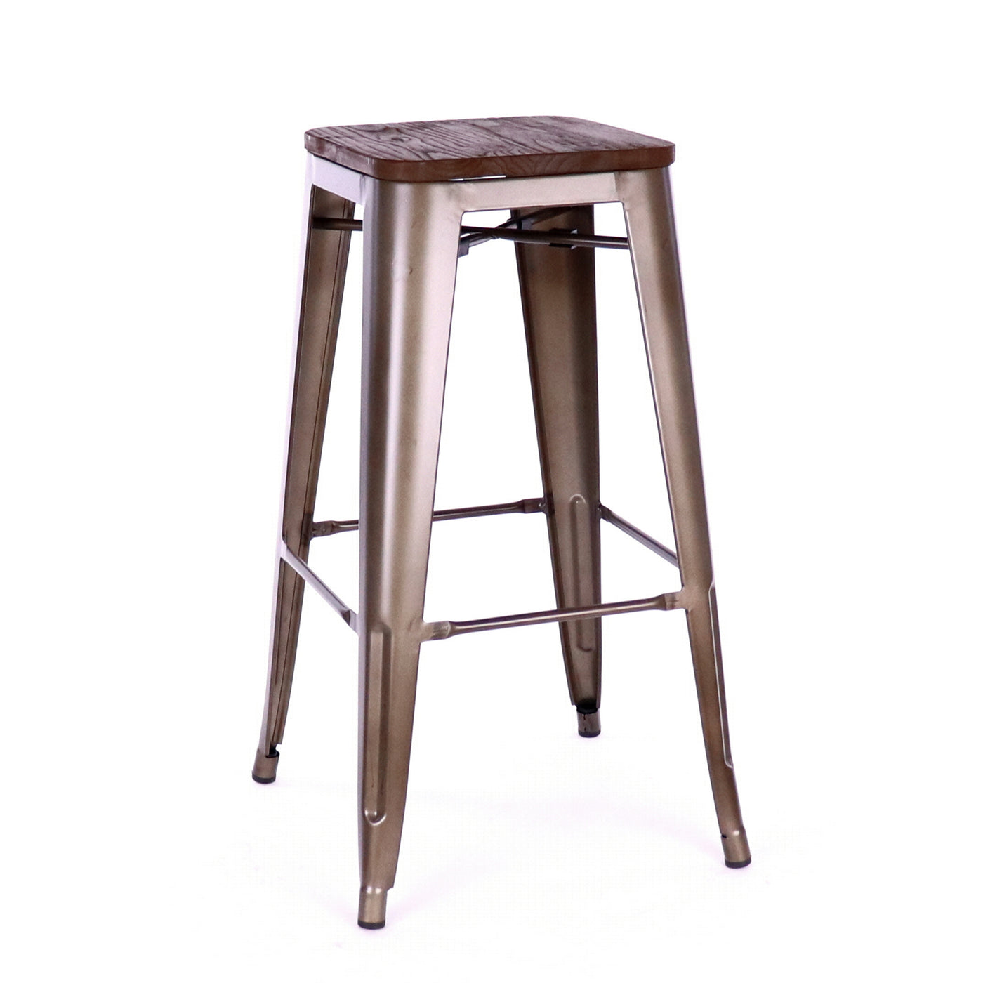 Design Lab MN LS-9100-RMTW Dreux Rustic Dark Wood Barstool Set of 4