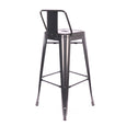 Design Lab MN LS-9100-DGUNLB Dreux Dark Gunmetal Low Back Barstool Set of 4