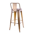 Design Lab MN LS-9100-VBRALB Dreux Vintage Brass Low Back Barstool Set of 4