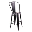 Design Lab MN LS-9102-MTBLKHB Dreux Matte Black High Back Counter Stool Set of 4