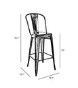 Design Lab MN LS-9101-GUNW Dreux Gunmetal/Dark Wood High Back Bar Chair Set of 4