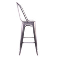 Design Lab MN LS-9100-DGUNHB Dreux Dark Gunmetal High Back Barstool Set of 4