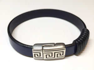 Blue Line Leather Bracelets (Available in both Black and Blue)