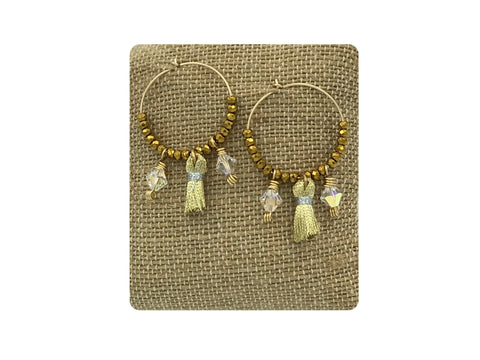Tassel Hoop Earrings  (Available in Gold or Silver)