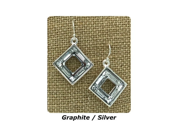 Swarovski Towne Square Earrings (Available in 6 Crystal Colors and in Silver, Copper and Gold)