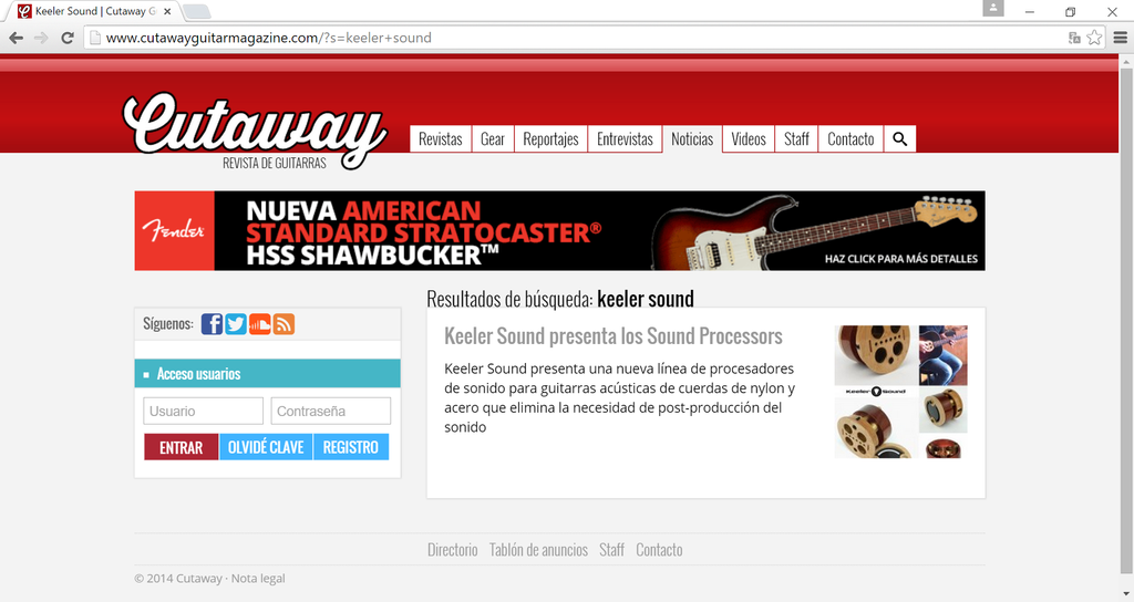Keeler Sound in Cutaway Guitar Magazine