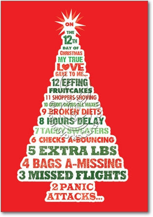 12 Days of Christmas - Funny Christmas Card - Front