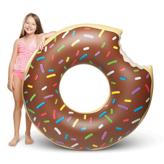 Child Leaning On Chocolate Donut Pool Float