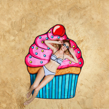 Woman Lying On Cupcake Beach Blanket