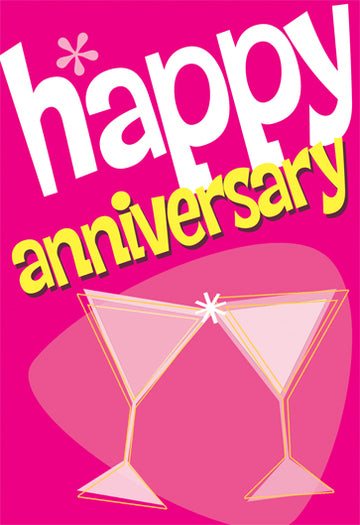Happy Anniversary Card With Champagne Glasses