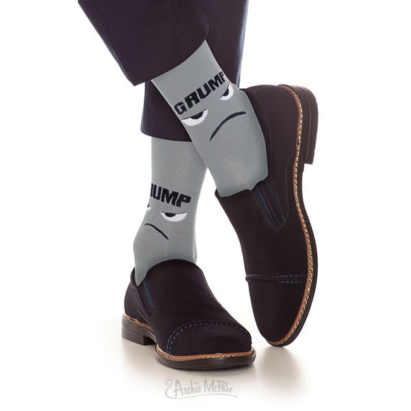 Man Wearing Grump Socks