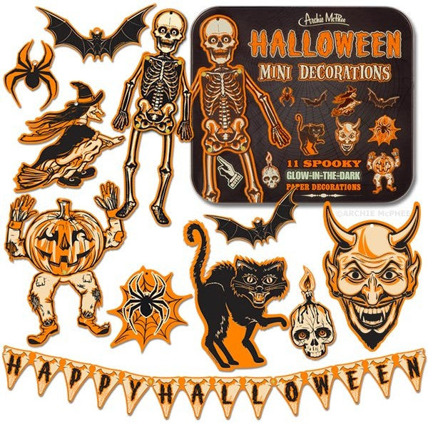Halloween Mini Decorations Tin Box and Stickers