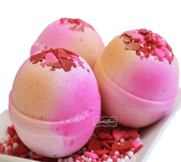 3 Love Spell Bath Bombs on Confetti Hearts