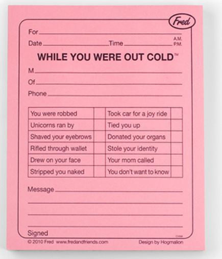 Out Cold Memo Pad Without Packaging