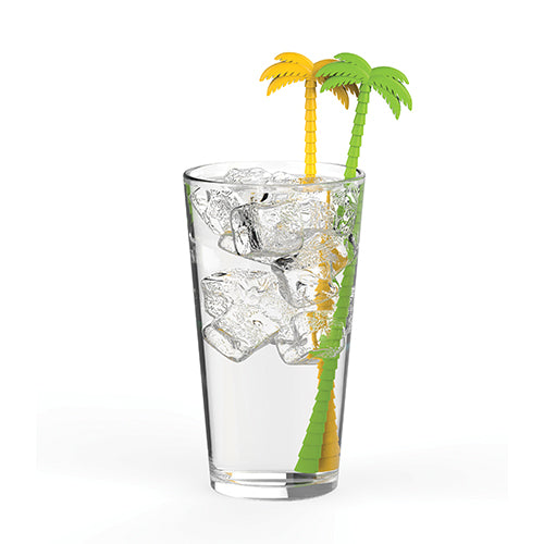 Palm Tree Stir Sticks In Glass
