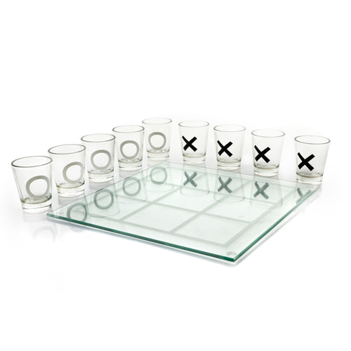Tic Tac Toe Shot Glass Board Game With Shot Glasses Lined Up