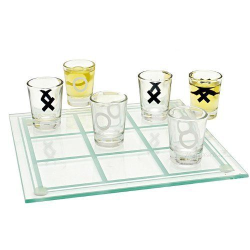 Tic Tac Toe Shot Glass Board Game With Filled Glasses