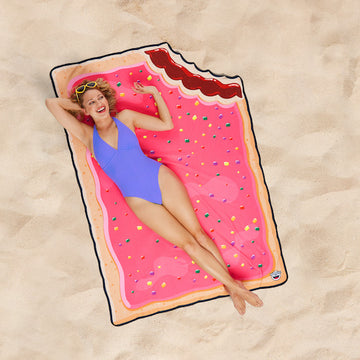 Woman Lying On Toaster Tart Beach Blanket