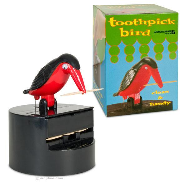 Toothpick Bird on Pedestal with Box