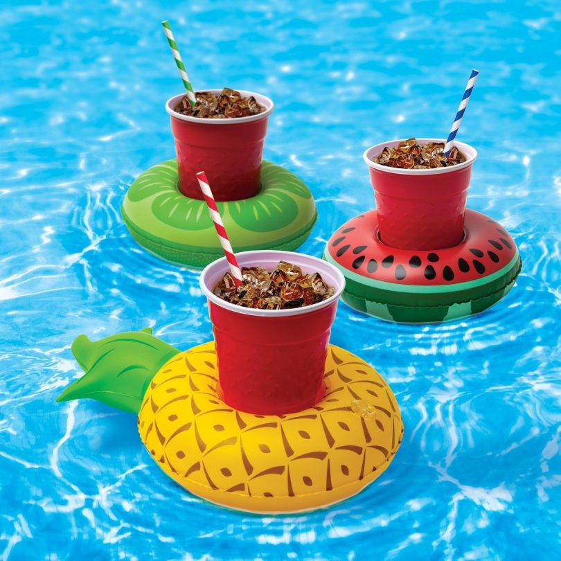 3 Inflatable Pool Party Beverage Floats In Pool