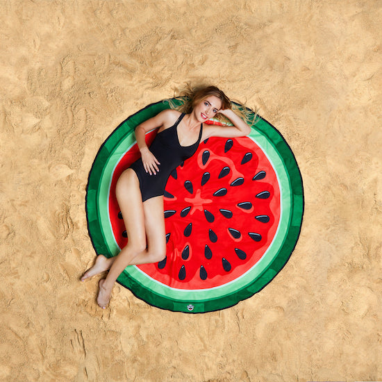 Woman Lying On Watermelon Beach Blanket