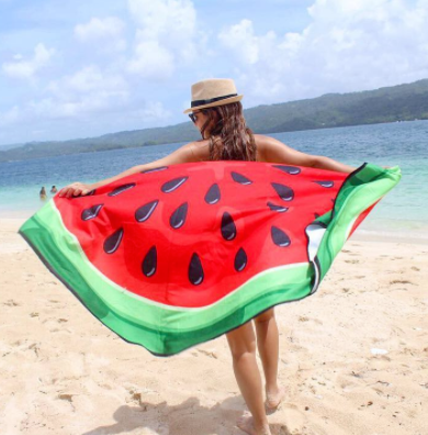 Woman Displaying Watermelon Beach Blanket