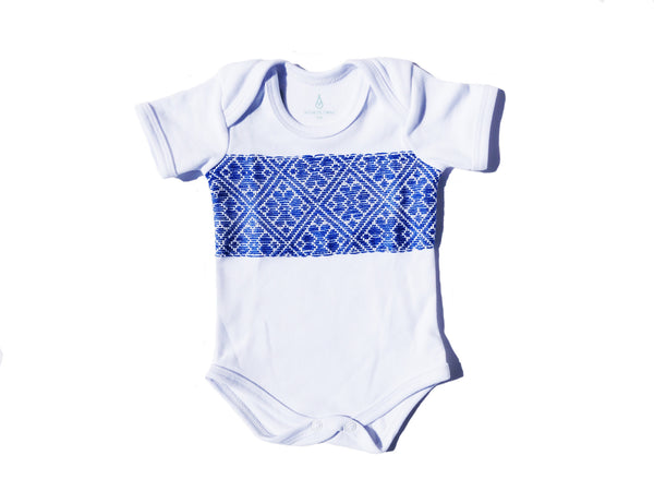 Blue Middle hand-sewn Onesie