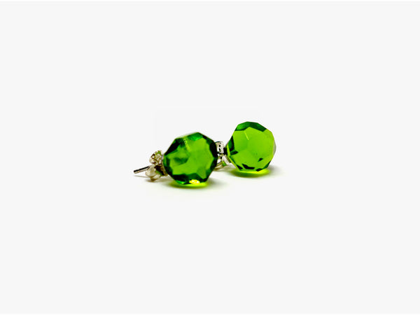 Green Glass Studs | Hand cut Murano