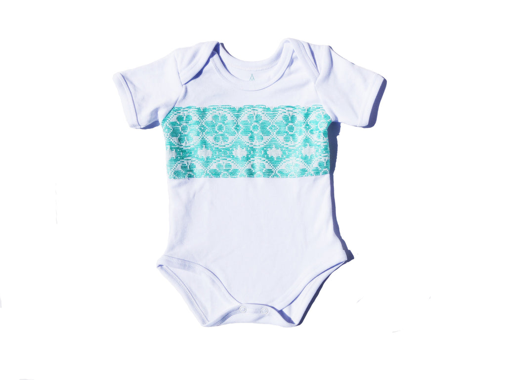 Mint Middle hand-sewn Onesie