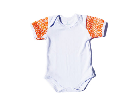 Orange Sleeve hand-sewn Onesie