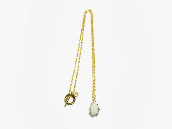 White POWER stone gold plated Necklace