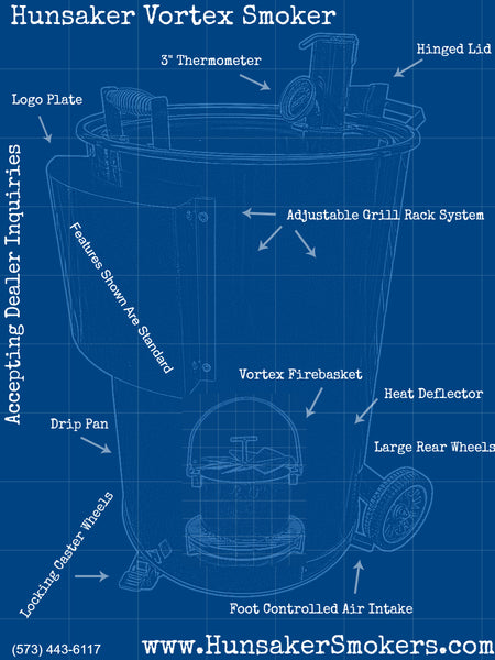 Blueprint showing all the barbecue smoker features.