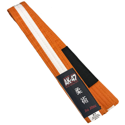 AK-47 Kids Jiu Jitsu Orange Belt w White Stripe