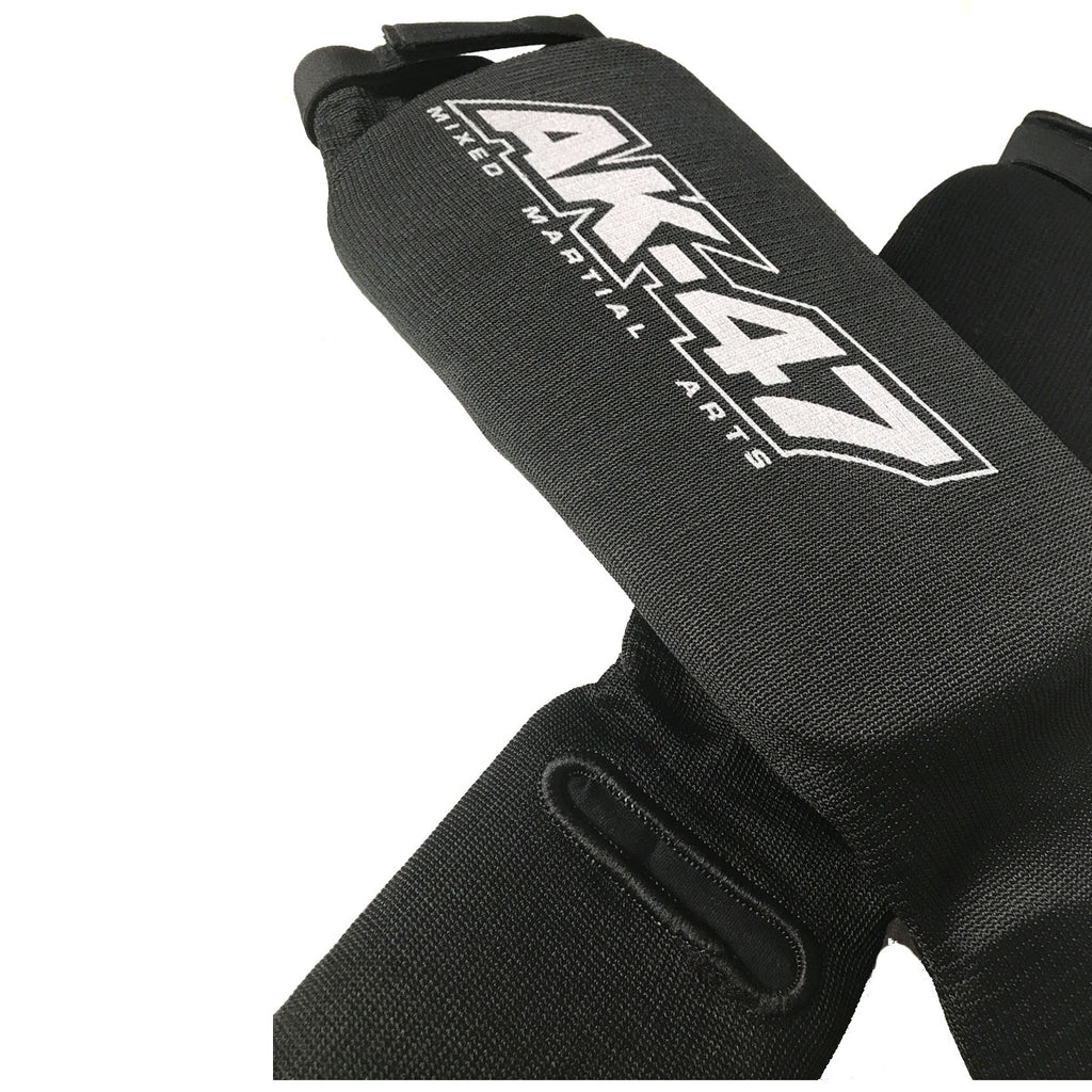 Cloth Shin Instep Guard Black w Velcro Strap