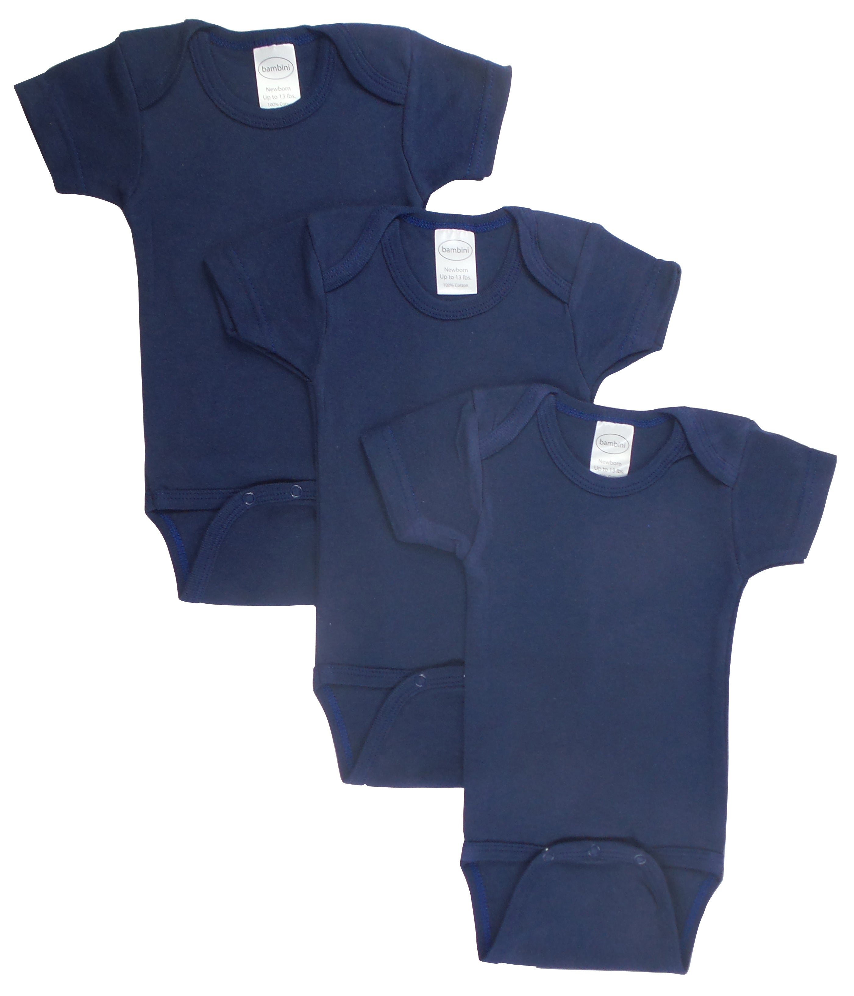 Bambini Navy Bodysuit Onezies (Pack of 3)
