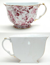 Porcelain Tea Cup Wall Pocket - Red Floral