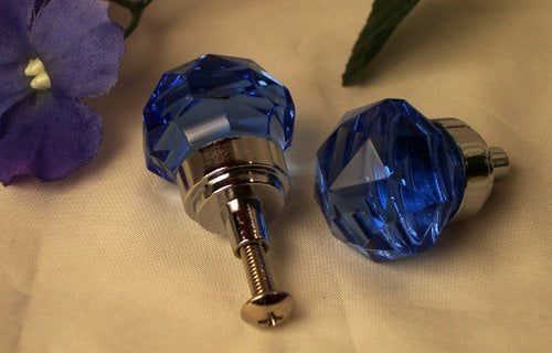 SMALL  Blue Crystal Glass Drawer Door Pull
